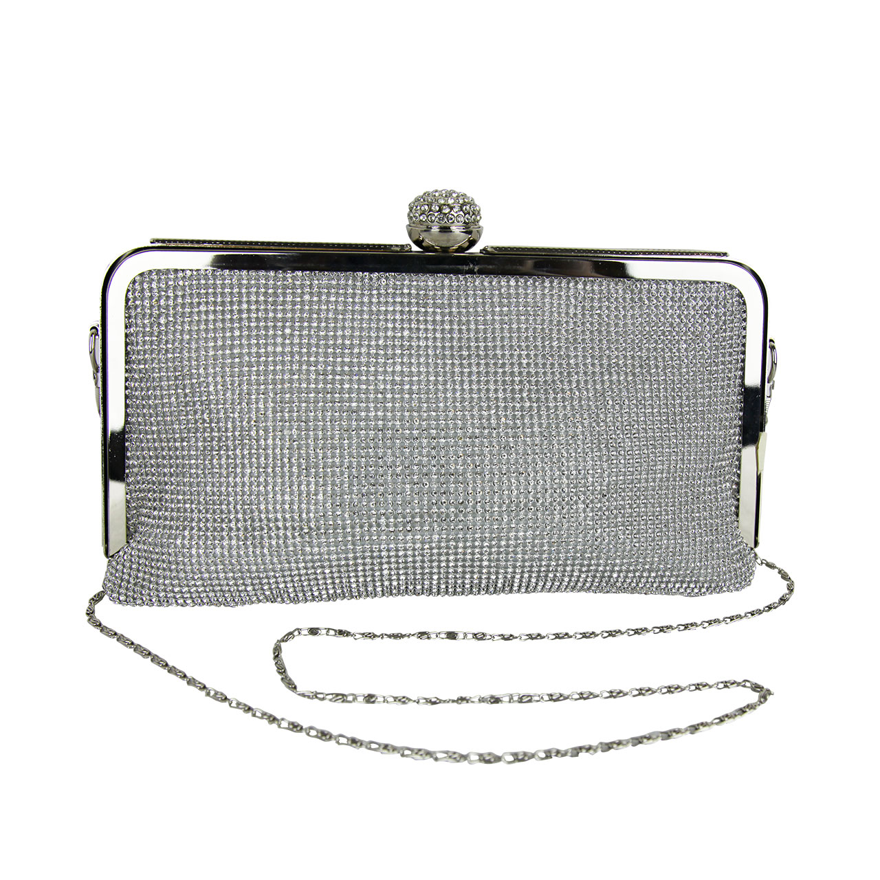 Women Silver Glitter Clutch Bag With Chain