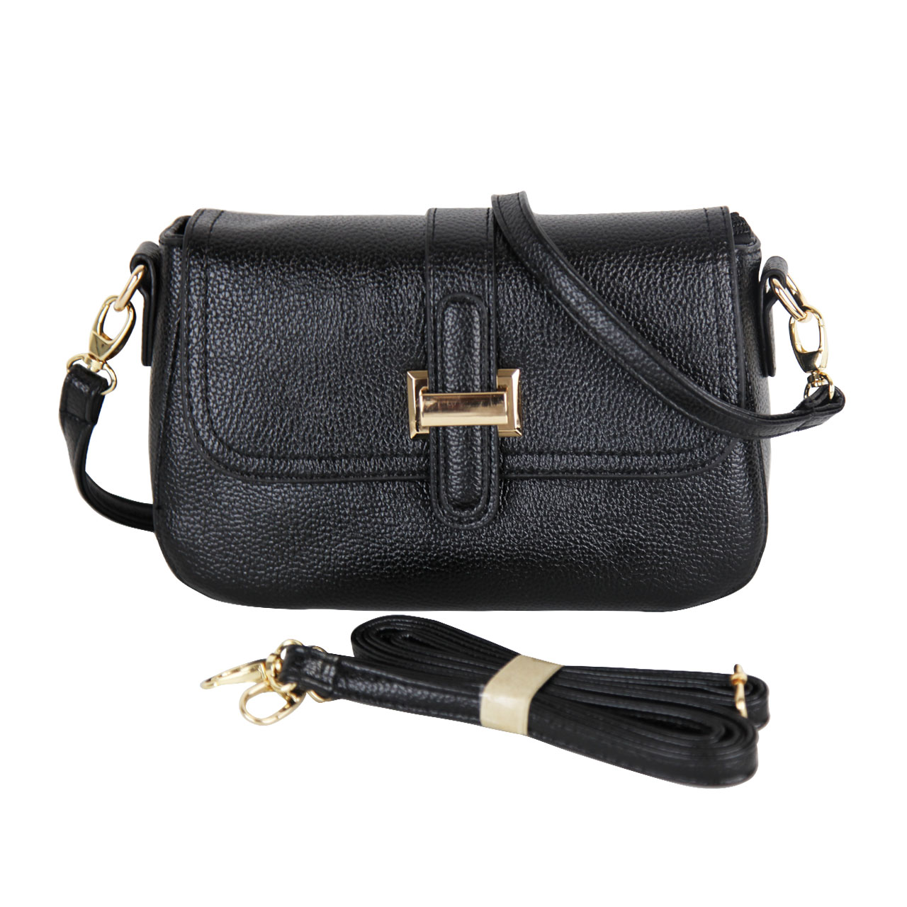 Front-Flap Leather Clutch Women Cross Body Bag- Black