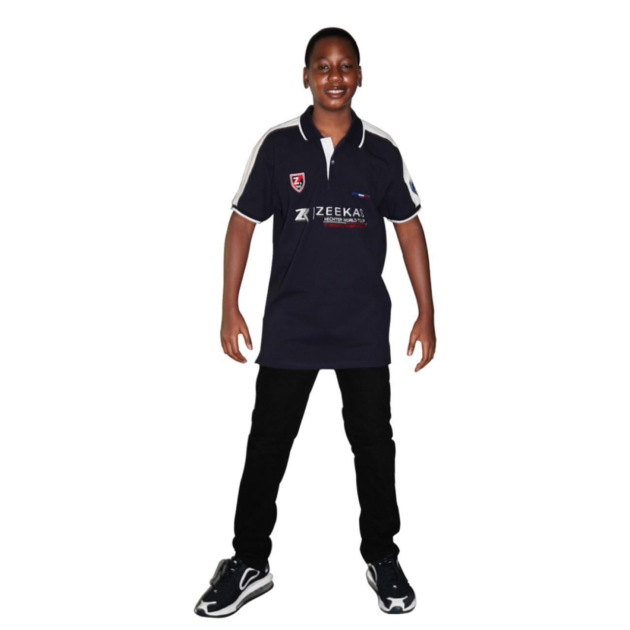 Zeekas Mens Hechter World Tour Overseas Championship Short Sleeve Navy Blue Polo T Shirt
