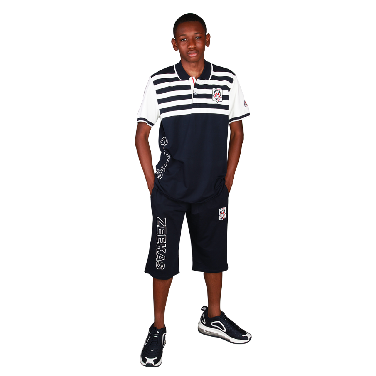 Zeekas Mens Short Sleeve Navy Blue Striped Polo Shirts With Collar