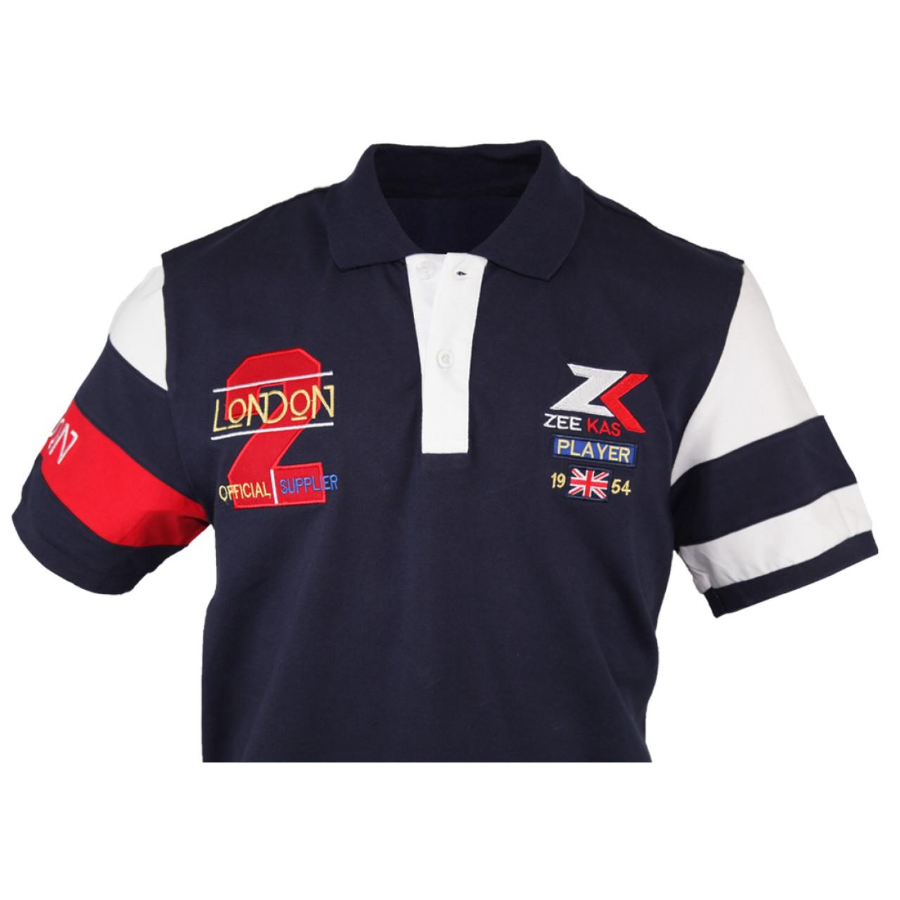 Zeekas Men's No.2 London Player Navy Blue Polo T Shirt Half Sleeves