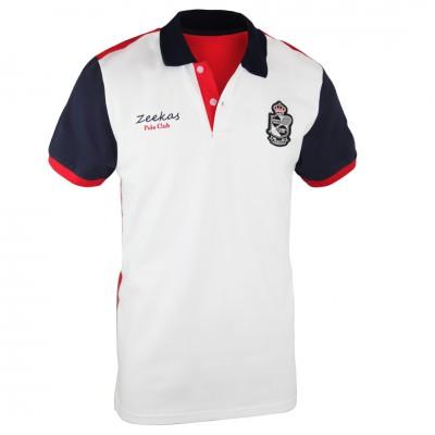 Zeekas Polo Club Monte Carlo Short Sleeve White Polo Shirt Mens With Collar