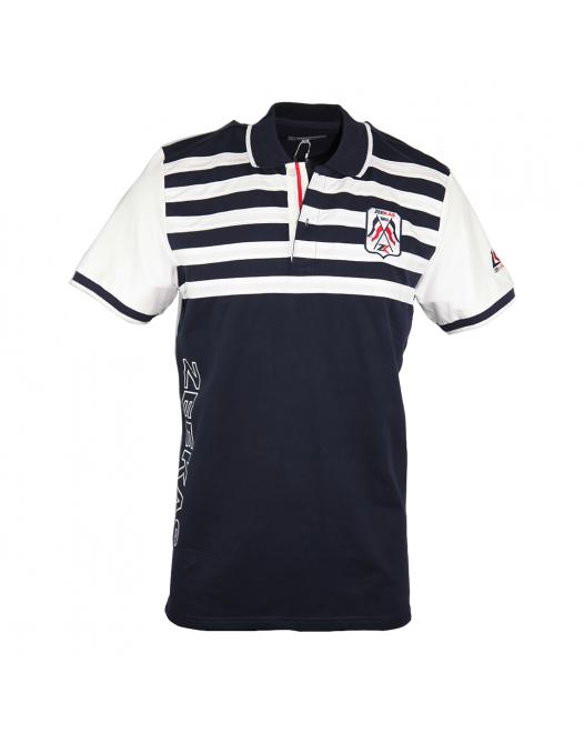 Zeekas Mens Navy Blue And White Striped Polo Shirt Short Sleeve With Bottom