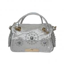 Embossed Silver-Tone Tote Handbag