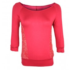 Casual 3/4th Sleeve Women's Red Top