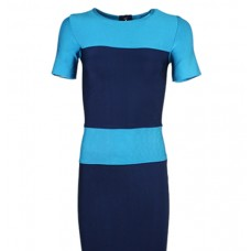 Casual Ladies Day Dress Blue Combo Tops