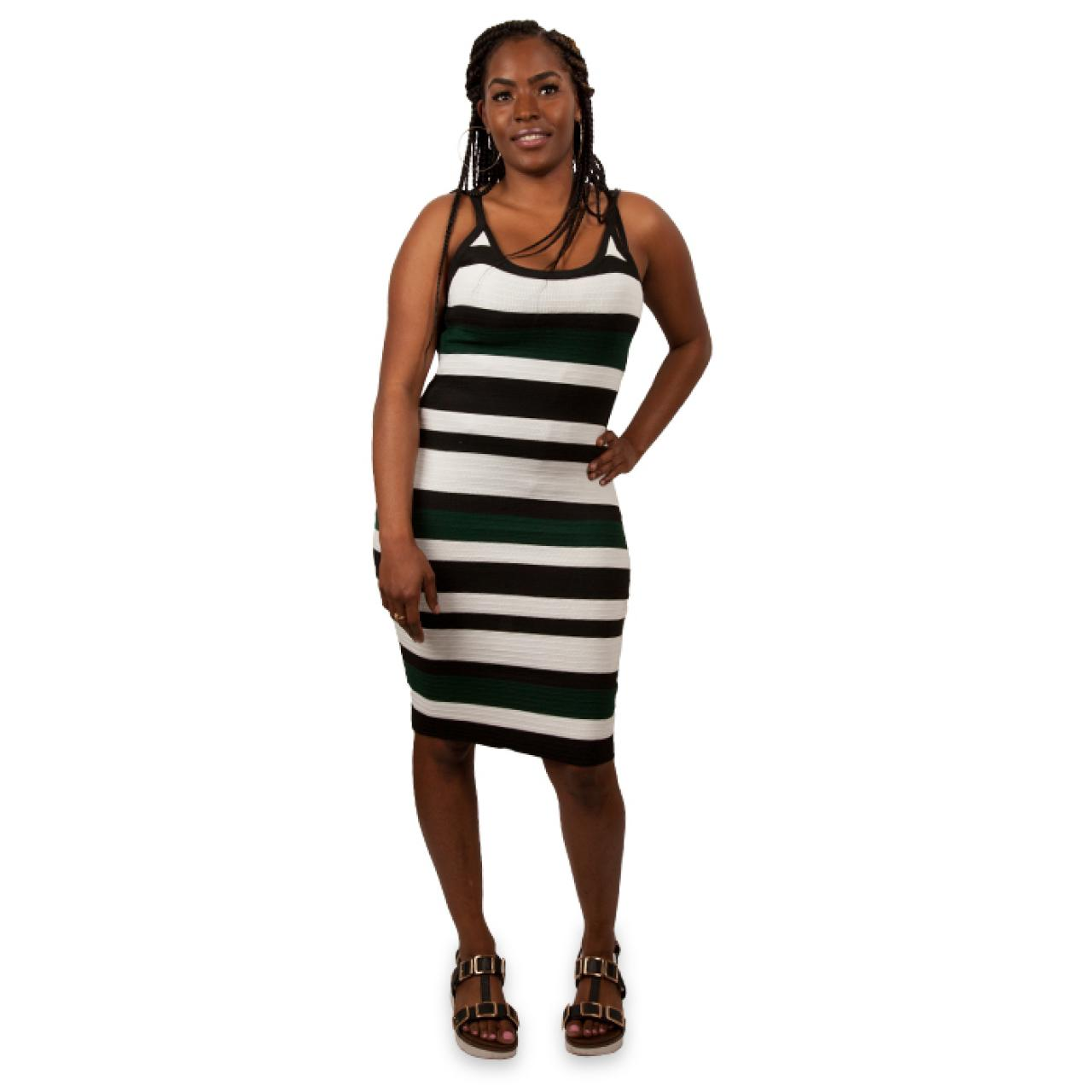 Women's Striped Belted Sheath Dress