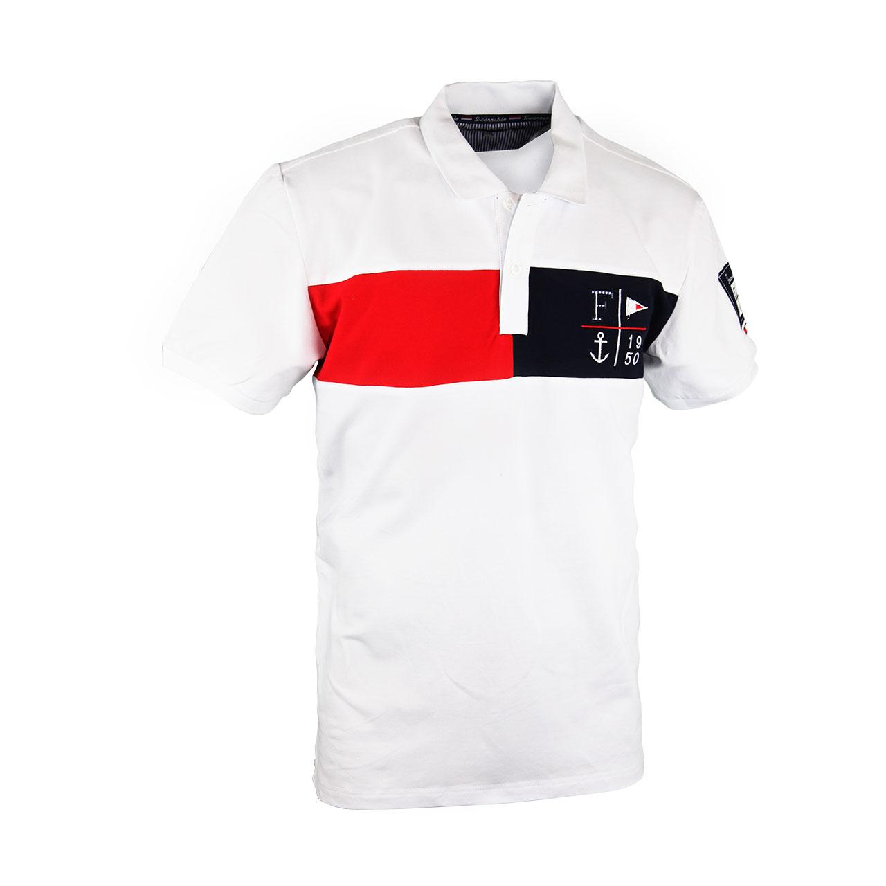 Men's White Solid Polo Collar T-shirt With Designer Patch