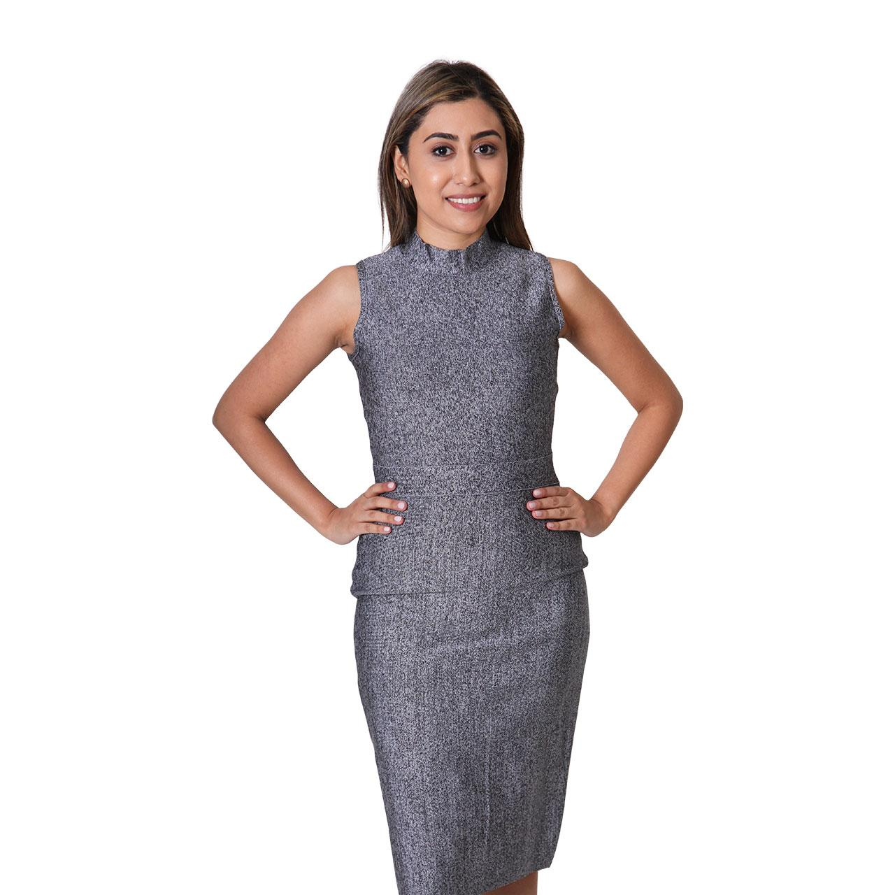 Womens Mock-Neck Sleeveless Grey Bodycon Dress Midi