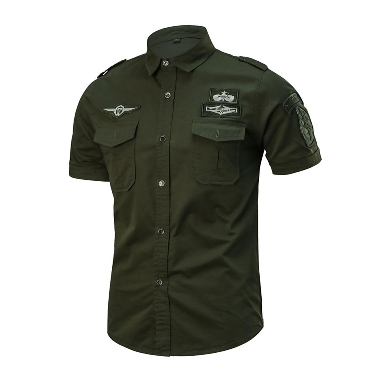 Men's Solid Army Green Colored Cotton Military Short Sleeve Daily Slim Shirt