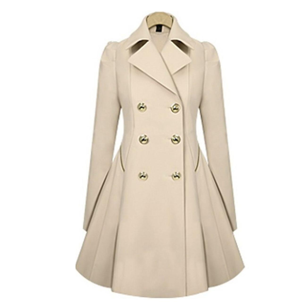 Women's Daily Spring Long Trench Coat, Solid Colored Shirt Collar Long Sleeve Polyester Khaki
