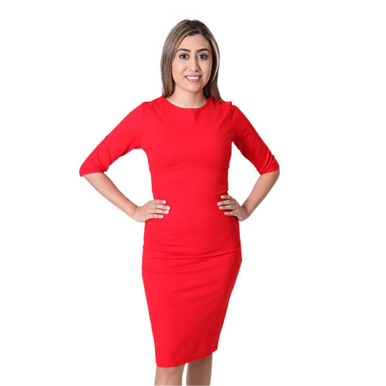 Ruched Red Neckline Crepe Midi Length Sheath Dress
